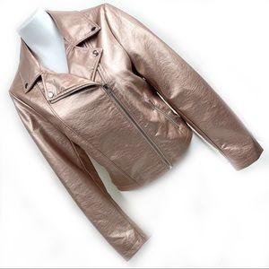 FOREVER 21 New & Rare Rose Gold Moto Jacket Large
